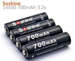 Soshine LiFePO4 14500 700mAh 3.2v